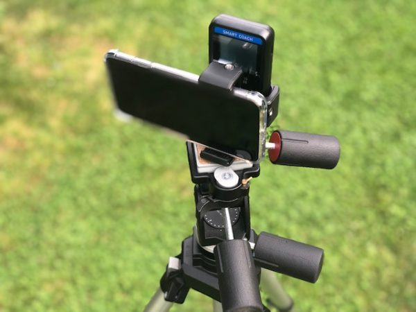Smart Coach Pocket Radar on tripod with iPhone