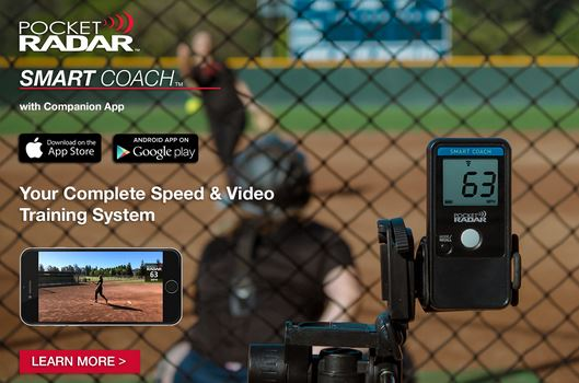 Pocket Radar Smart Coach for speed measuring of pitches in fastpitch softball instruction